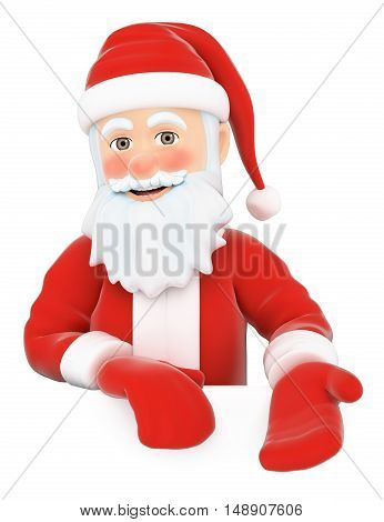 3d christmas people illustration. Santa Claus pointing down. Blank space. Isolated white background.
