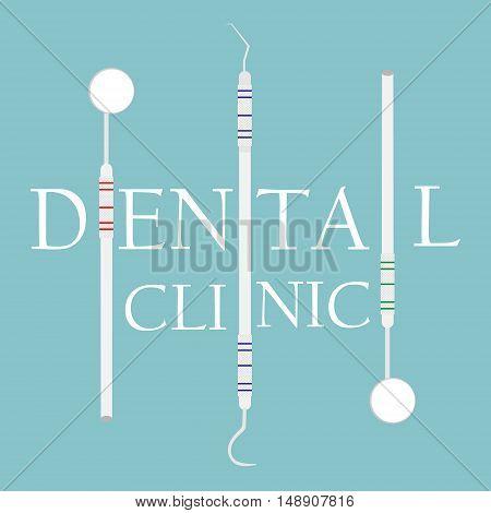 Vector illustration Dental clinic logo with dentist instruments design template