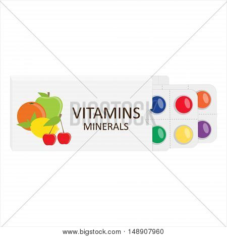 Blister packaging natural suppelements and vitamins concept vector illustration. Orange lemoncherry and apple
