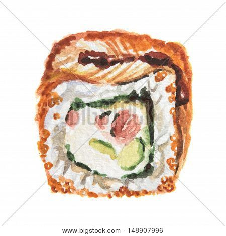 Isolated watercolor sushi roll on white background. Traditional asian food with caviar, rice and fish.