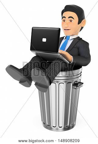 3d business people illustration. Businessman working with a laptop in a dustbin. Dead end job. Isolated white background.