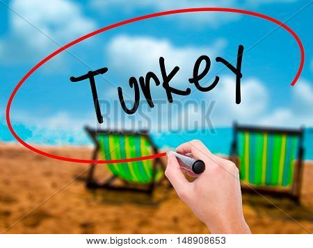 Man Hand Writing Turkey  With Black Marker On Visual Screen