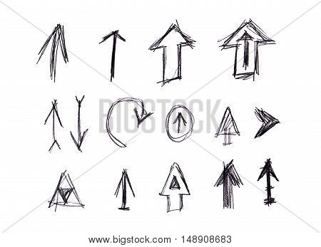 Handdrawn arrow set isolated on white background