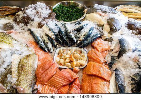 Fresh Seafood Displayed On Ice