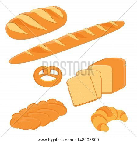 Loaf of bread pigtail bread pretzel toast bread croissant and french baguette vector illustration. Different kinds of bread vector icon