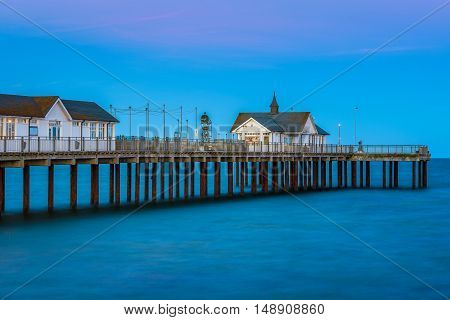 Southwold Pier In Suffolk, Uk At Sunset