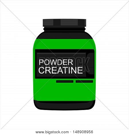 Vector illustration sport nutrition. Powder creatine for body building