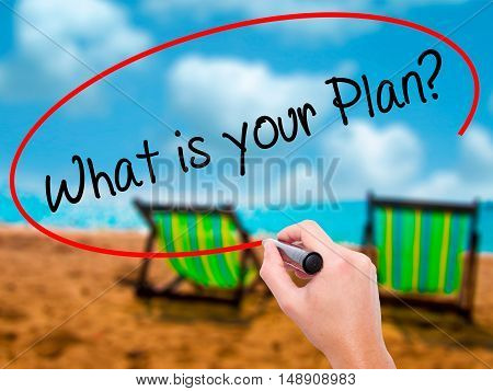 Man Hand Writing What Is Your Plan? With Black Marker On Visual Screen