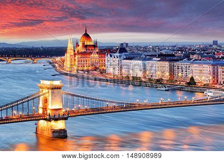 Budapest parliament in Hungary at a sunset