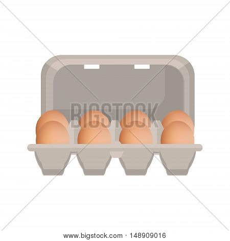 Vector illustration egg box with brown fresh chicken eggs. Egg container.