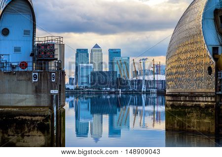 London UK - August 31 2016 - View of Canary Wharf and O2 Arena from Thames Barrier