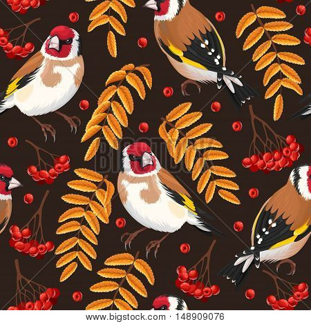 Goldfinch and rowan berries and leaves vector seamless background