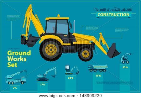 Yellow excavator. Blue infographic big set of ground works blue machines vehicles. Catalog page. Heavy construction equipment for building truck digger crane bagger mix. Transportation master vector.