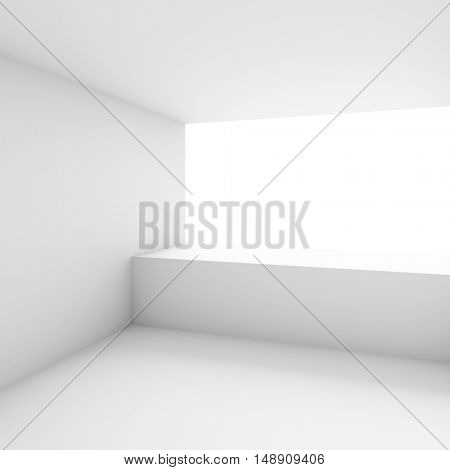 3d Illustration of White Office Interior Design. Empty Room with Window. Abstract Architecture Background