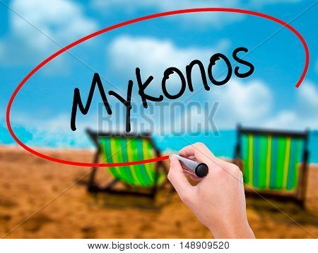 Man Hand Writing Mykonos With Black Marker On Visual Screen