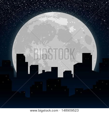 Moon on the background silhouette of the city at night. Starry Sky. Eps 10.