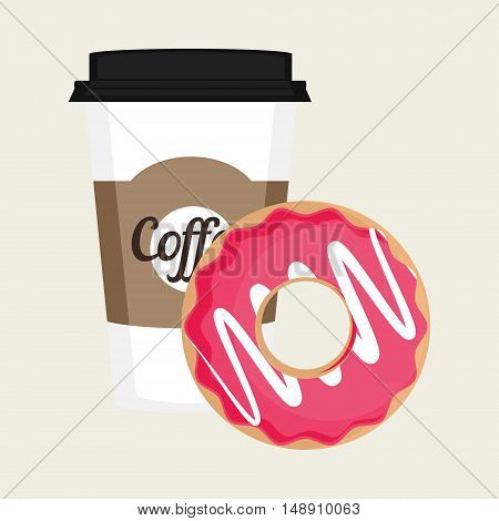 Vector illustration disposable coffee cup icon with pink sweet donuts