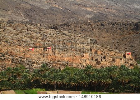 Deserted Village in Wadi Ghul . Sultanate of Oman