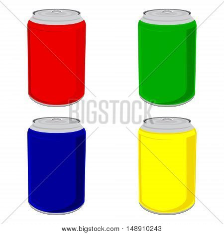 Vector illustration aluminum tin can color set collection. Red blue green and yellow cans isolated on white background. Beverage drink. Soda can icon