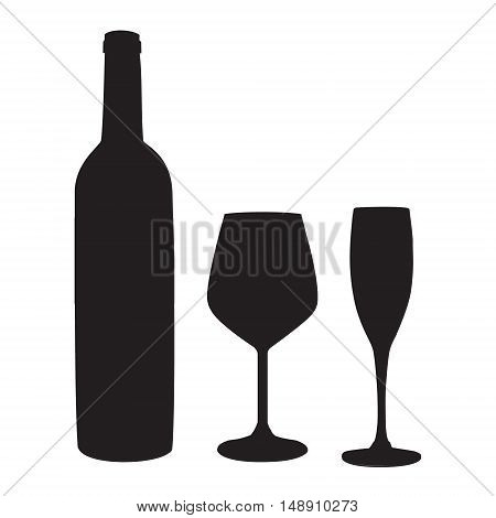 Vector illustration black silhouette of wineglass champagne glass and wine bottle. Wineglass. Bottle and glasses icon