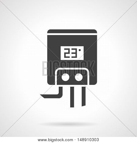 Gas or electric water boiler for home heating. Climatic appliances and equipment. Element of heated floor system. Monochrome black flat design vector icon.