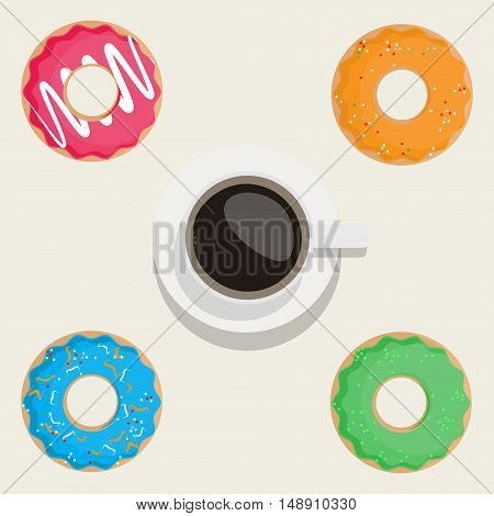 Vector illustration sweet donuts pink orange blue and green. Cup of coffee top view. Donuts icon set. Collection of tasty donuts. Donuts and coffee