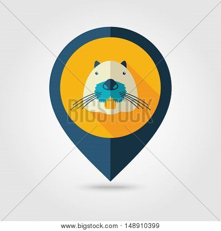 Otter beaver flat pin map icon. Map pointer. Map markers. Animal head vector symbol eps 10