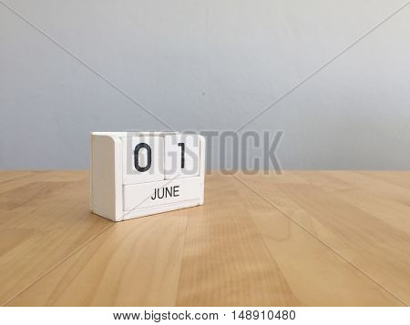 June 1St.june 1 White Wooden Calendar On Vintage Wood Abstract Background. Summer Day.copyspace For