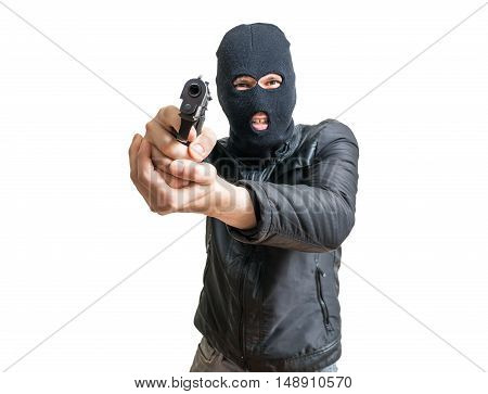 Burglar Or Robber Aiming With Pistol. Isolated On White Backgrou