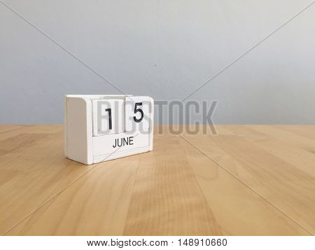 June 15Th.june 15 White Wooden Calendar On Vintage Wood Abstract Background. Summer Day.copyspace Fo