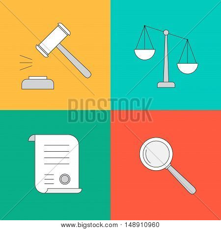Vector collection or set of law and justice icons sign symbol in flat style
