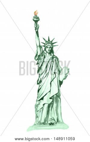 Isolated watercolor statue of liberty on white background. Symbol of New York, USA. Beautiful landmark.