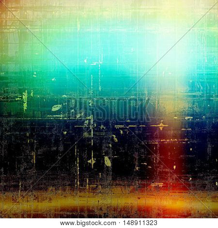 Art grunge background or vintage style texture with retro graphic elements and different color patterns: yellow (beige); green; blue; red (orange); black