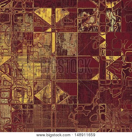 Geometric vintage colorful textured background. Backdrop in grunge style with antique design elements and different color patterns: yellow (beige); brown; red (orange); pink