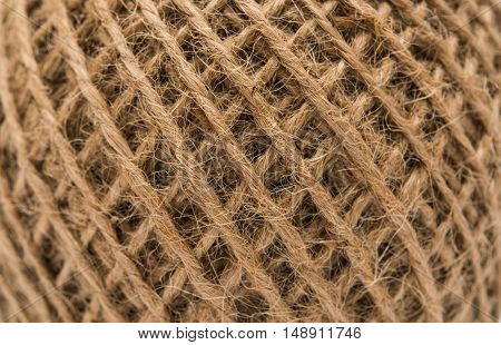 Skein of jute twine strand, string, textile closeup