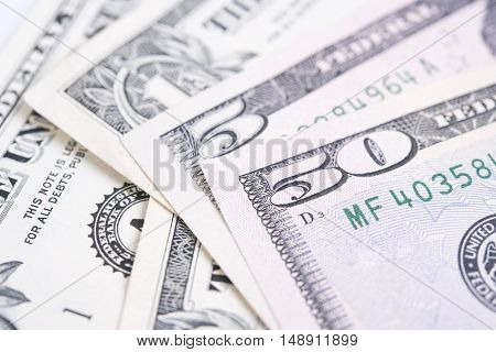 Closeup money dollar bill banknotes for background.