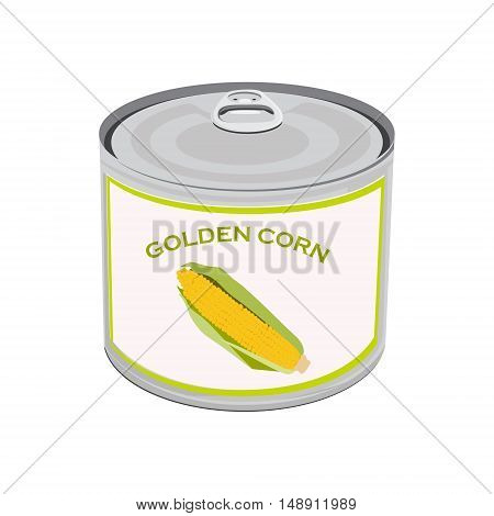 Vector illustration can with golden corn isolated on white background. Canned food