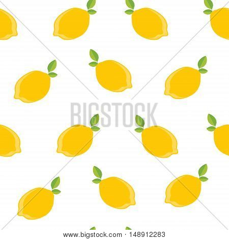 Vector illustration seamless pattern yellow lemons with green leaves isolated on white background. Citrus fruit background