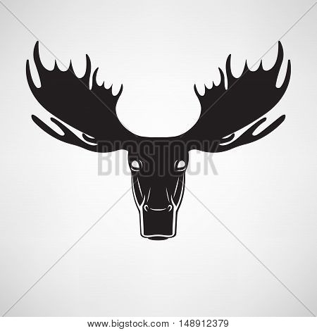 Vector images of moose head on a white background. Elk. Logo