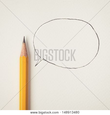 Vintage tone of yellow Pencil with speech bubble