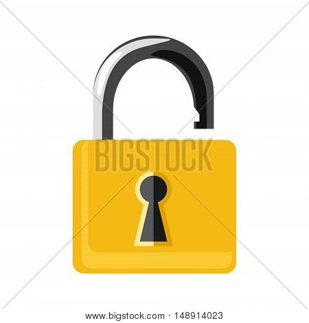 Vector illustration opened golden lock isolated on white background. Lock icon set collection. Padlock