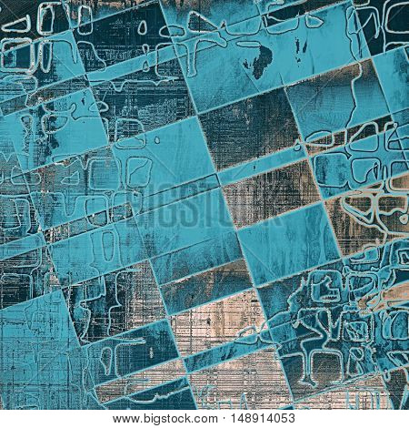 Geometric vintage decorative background, antique grunge texture with different color patterns: yellow (beige); brown; gray; blue; cyan