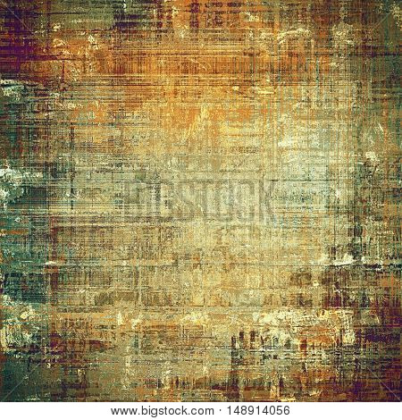 Vintage texture, old style frame decoration with grunge graphic elements and different color patterns: yellow (beige); brown; gray; green; red (orange)