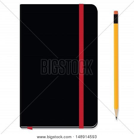 Blank copybook template with elastic band and bookmark. Black notebook moleskin and yellow pencil with eraser. Stationery tools