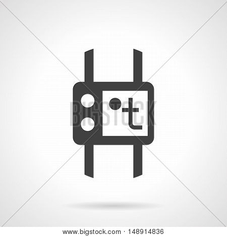 House heating temperature control panel. Device with display and buttons. Heated floor element. Monochrome black flat design vector icon.