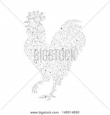 Vector illustration of a rooster in the star style. Silhouette on a night starry sky background rooster - a symbol of 2017 by the Chinese calendar. Design element Christmas cards, booklets, calendars