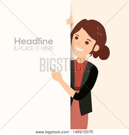 happy smiling business woman point her finger at a blank board vector illustration