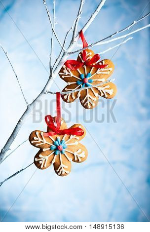 Gingerbread snowflakes for Christmas hanging on a twig