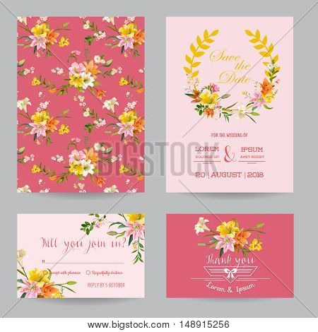 Save the Date - Wedding Invitation or Congratulation Card Set - Autumn Lily Floral Theme - in Vector