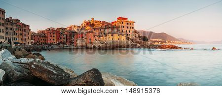Sunset in Boccadasse bay Italy Genoa panorame image
